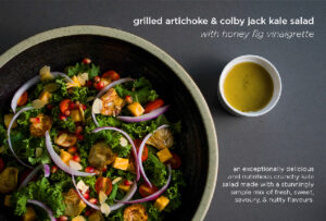 Grilled Artichoke and Colby Jack Salad with Honey Fig Vinaigrette